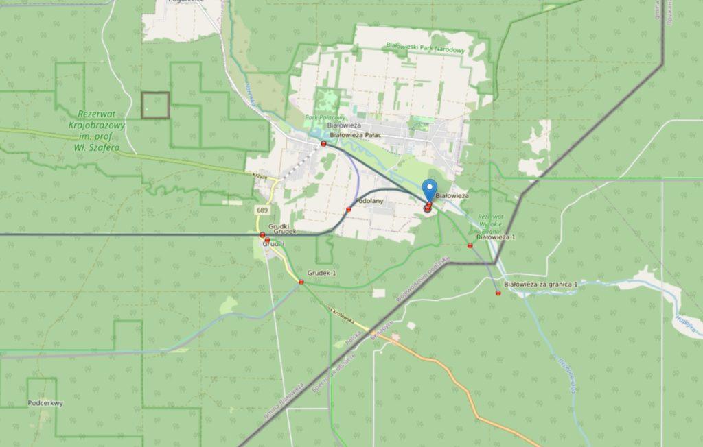 Mapa Białowieży z linią kolejową