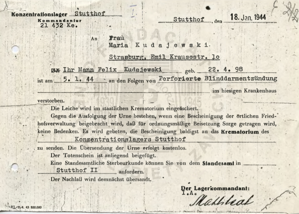 List zawiadamiający o śmierci i spaleniu ciała Feliksa Kudajewskiego (fot. arch. prywatne)